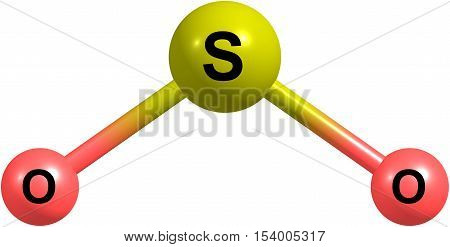 Sulfur dioxide or sulphur dioxide is the chemical compound with the formula SO2. Sulfur dioxide is a toxic gas. 3d illustration