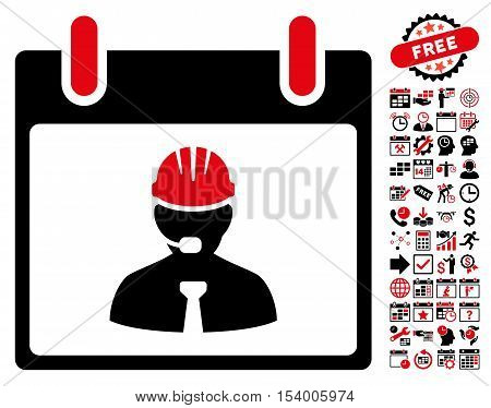 Engineer Calendar Page pictograph with bonus calendar and time management pictograph collection. Glyph illustration style is flat iconic symbols, intensive red and black, white background.