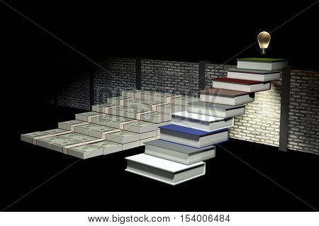 3D Rendering : illustration of success by knowledge concept.ladder to success a business or life by knowledge.Abstract dark room background. Financial growth and education concept.