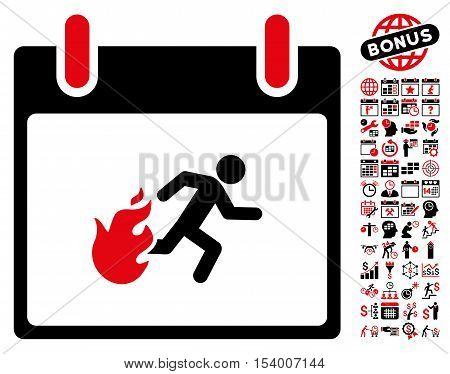 Fire Evacuation Man Calendar Day pictograph with bonus calendar and time management images. Glyph illustration style is flat iconic symbols, intensive red and black, white background.