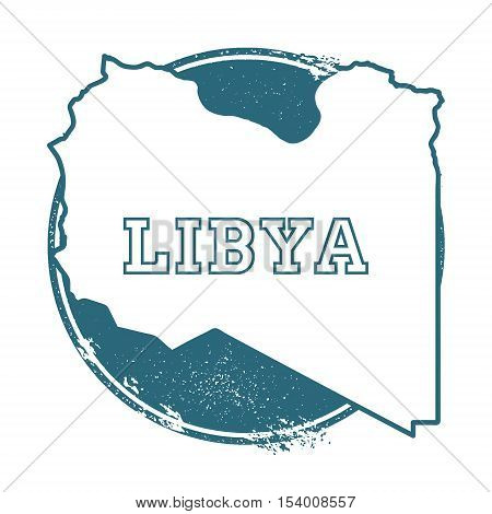 Grunge Rubber Stamp With Name And Map Of Libya, Vector Illustration. Can Be Used As Insignia, Logoty