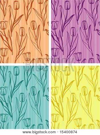 Seamless flower vector background.