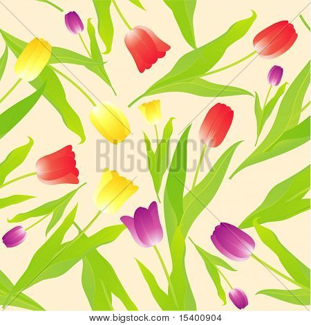 Tulips. Seamless vector background.