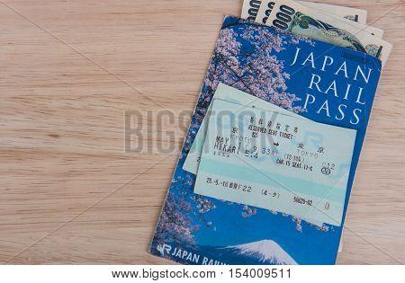 TOKYO, JAPAN - MAY 1 2016: JR Ticket Japan rail pass , Tokyo, Japan. MAY 1 2016.  Popular Japanese shinkansen high-speed rail convenient time.