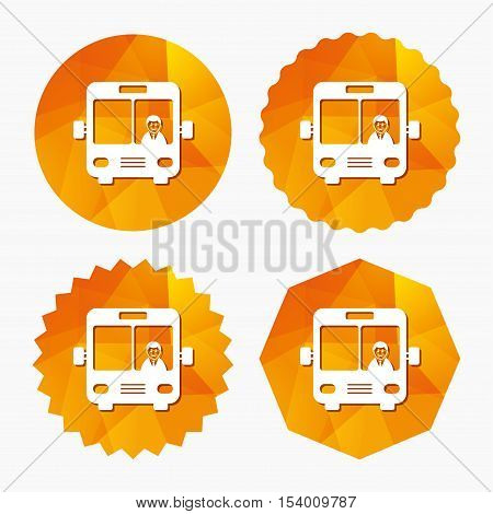 Bus sign icon. Public transport with driver symbol. Triangular low poly buttons with flat icon. Vector