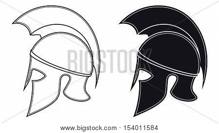 Black And White Vector Illustration Of A Side Silhouette On Ancient Greek Warrior Helmet