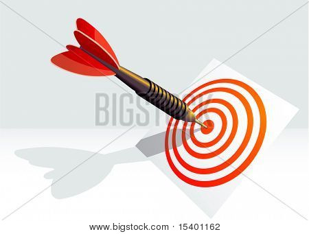 Dart right to target. Vector.