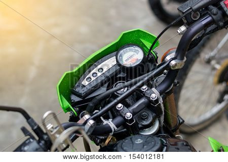 Closeup to the speedometer of the motorcycle.