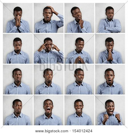 Set Of African Man Dressed In Blue Shirt Showing Different Emotions: Sadness, Surprise, Anger. Colla