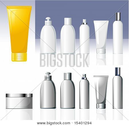 Cosmetic bottles. Vector.