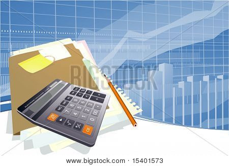 Business calculator. Vector template.