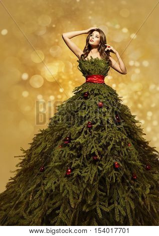 Fashion Model Christmas Tree Dress Woman Xmas Gown New Year Clothing Decoration