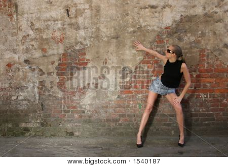 Fashon Girl Near Vintage Wall