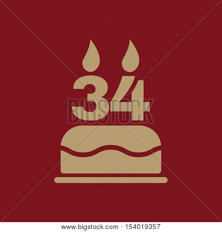 The birthday cake with candles in the form of number 34 icon. Birthday symbol. Flat Vector illustration