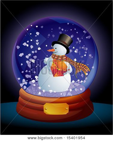 Christmas snow dome. Vector.