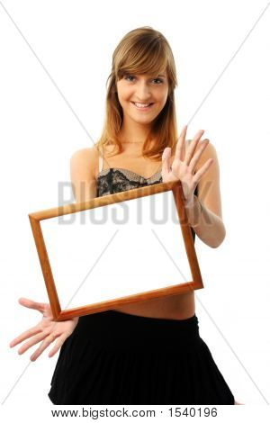 Lovely Woman With Frame