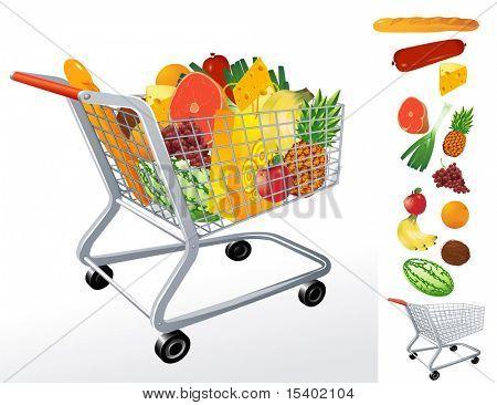Supermarket cart. Vector.