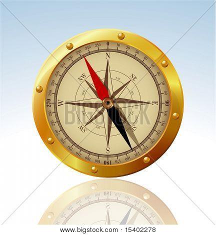 Golden compass.  Vector.