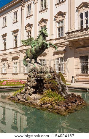 Pegasus sculpture in Mirabell Gardens in Salzburg Austria