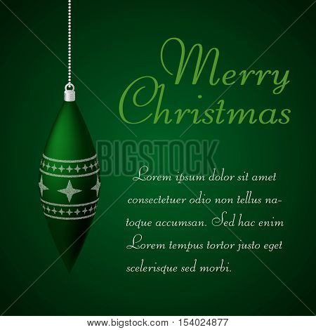 Merry Christmas background. Green background with decoration and place for text.