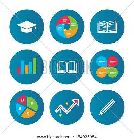 Business pie chart. Growth curve. Presentation buttons. Pencil and open book icons. Graduation cap symbol. Higher education learn signs. Data analysis. Vector