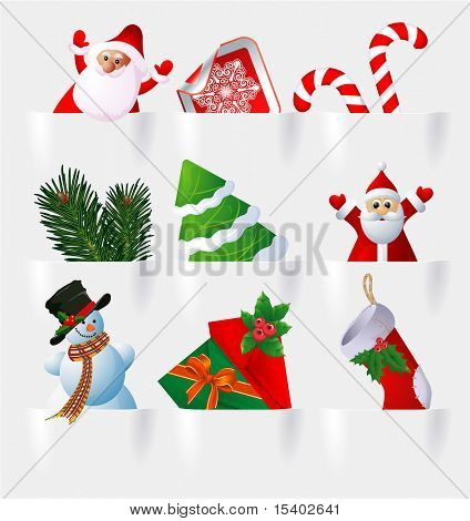 Christmas icon set. Vector.