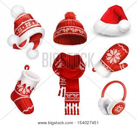 Winter clothes. Santa stocking cap. Knitted hat. Christmas sock. Scarf. Mitten. Earmuffs. 3d vector icon