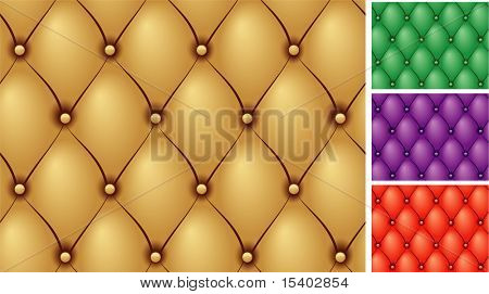 Buttoned leather seamless vector backgrounds set.