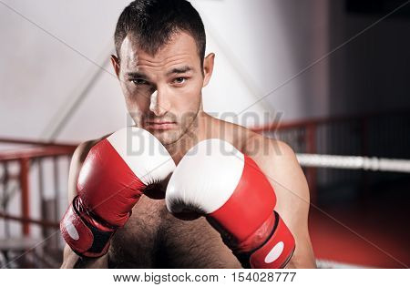 Serious adversary. Close-up of handsome young boxer wearing gloves and holding hands in boxing position.
