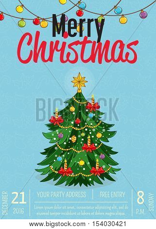 Christmas Party Poster Vector Illustration Invitation Poster On
