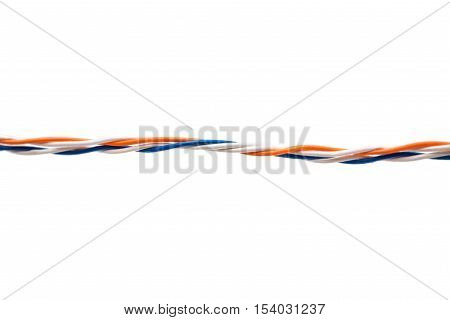 colored wire electric isolated on a white background