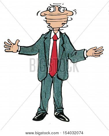Color business illustration of businessman rapidly turning his head left to right to left.