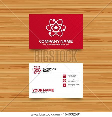 Business card template. Atom sign icon. Atom part symbol. Phone, globe and pointer icons. Visiting card design. Vector