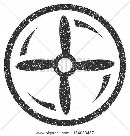 Drone Screw Rotation grainy textured icon for overlay watermark stamps. Flat symbol with scratched texture. Dotted glyph gray ink rubber seal stamp with grunge design on a white background.