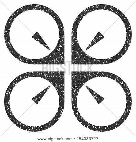 Hover Drone grainy textured icon for overlay watermark stamps. Flat symbol with scratched texture. Dotted glyph gray ink rubber seal stamp with grunge design on a white background.