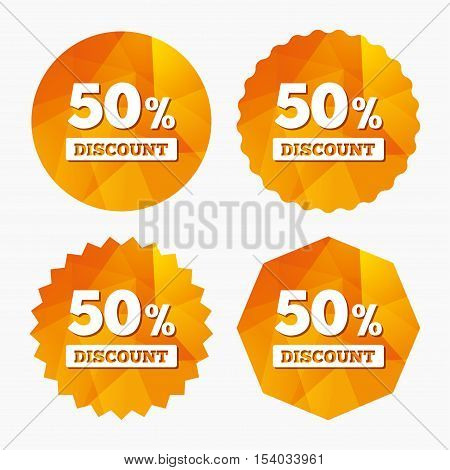 50 percent discount sign icon. Sale symbol. Special offer label. Triangular low poly buttons with flat icon. Vector
