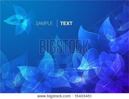 Blue misty flowers. Vector background.