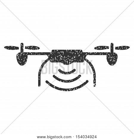 Radio Transmitter Airdrone grainy textured icon for overlay watermark stamps. Flat symbol with unclean texture. Dotted glyph gray ink rubber seal stamp with grunge design on a white background.
