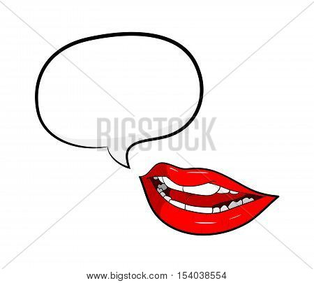 Gossip Red Lips Talking with Speech Bubble. A hand drawn vector cartoon illustration of a mouth with a blank narration bubble.