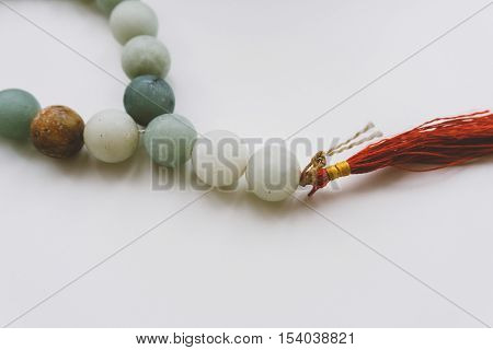 jade Buddhist prayer beads for meditation, Buddhist themes