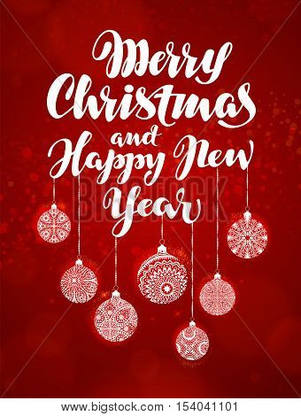 Merry Christmas and Happy New Year, banner. Beautiful greeting lettering decorated with decorative xmas decorations