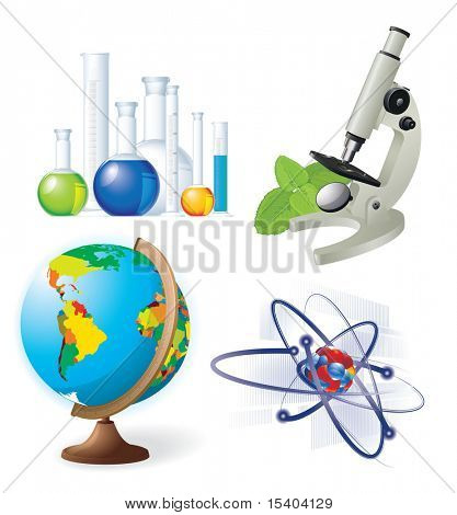 Natural sciences vector icon set.