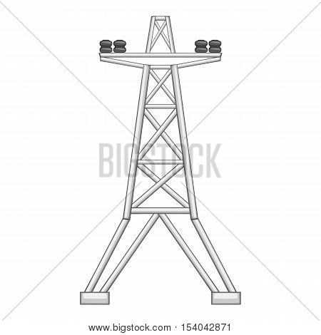 Electric power line tower icon. Gray monochrome illustration of power line tower vector icon for web design