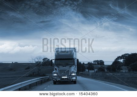 trucking in late evening