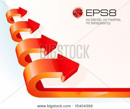 Red glossy growing arrows.  Vector.