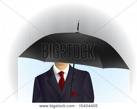 Man with umbrella and red tie. Security vector abstract.