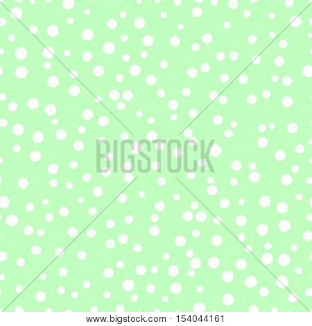 Chaotic dots on a green background Dots Seamless Pattern Dots Seamless Background White Circles Dots different sizes