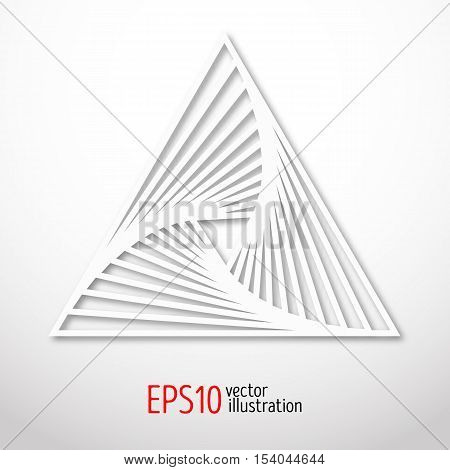 Triangular abstract sacral geometry. Vector art of three-cornered symbol