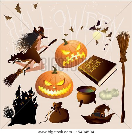 Halloween design elements and decorations vector set.