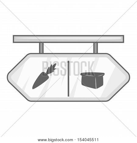 Department sign in supermarket icon. Gray monochrome illustration of department sign vector icon for web design